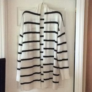 Women's White & Black Striped Boyfriend Cardigan